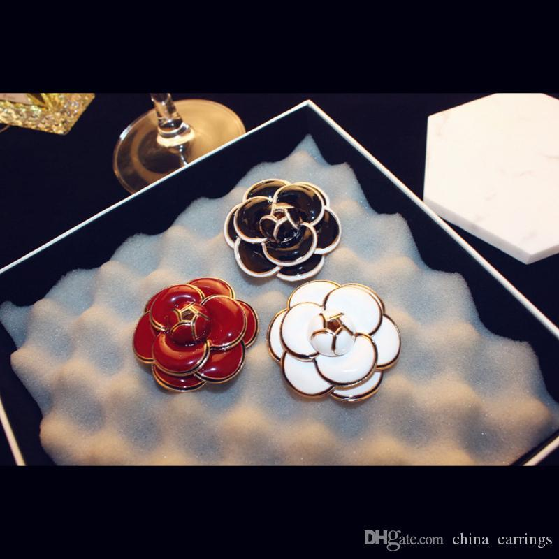 AGOOD Brand 2017 New High Quality Rose Camellia Brooches Gold Plated Flowers Enamel Brooch Pins Woman Scarf Cloth Accessories
