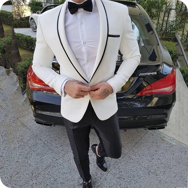 Neueste Design Ein-Knopf-Elfenbein-Bräutigam-Smoking-Schal-Revers-Mann-Klagen 2 Stück Hochzeit / Prom / Abendessen Blazer (Jacke Hosen Krawatte) W718