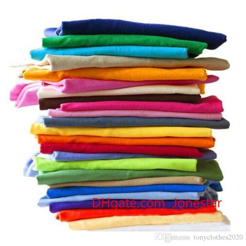 Сплошной цвет T Shirt Оптовая Черный Белый Мужчины Женщины Хлопок футболки Skate Марка футболки Запуск Plain Мода Топы Тис