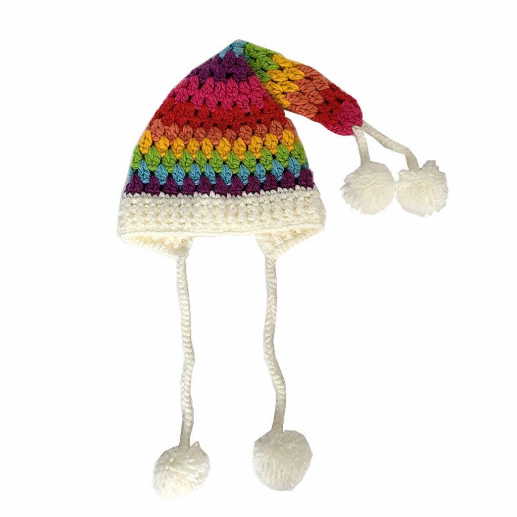 rainbow Patchwork hairy bell hat winter Christmas Thickening Children Hat Crochet Women Long Tail Knit Hat czapka zimowa #445