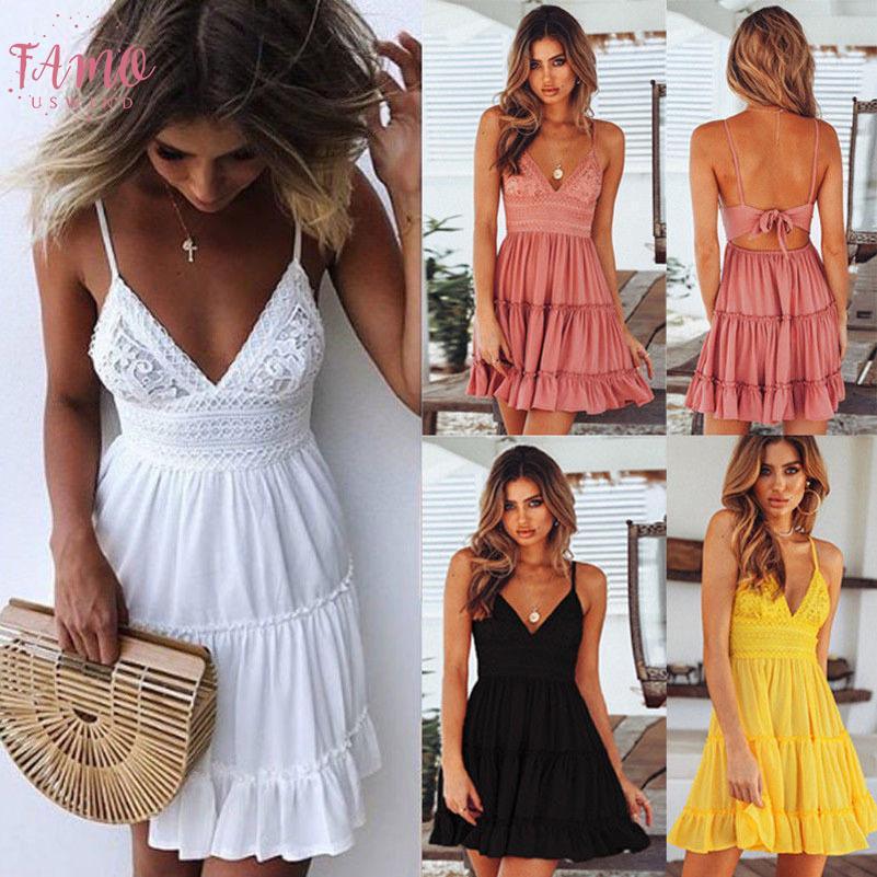 Sexy V Neck Mini Dress Women Bodycon Lace Spaghetti Strap Female Summer Backless Bow Casual Beach Party Dresses