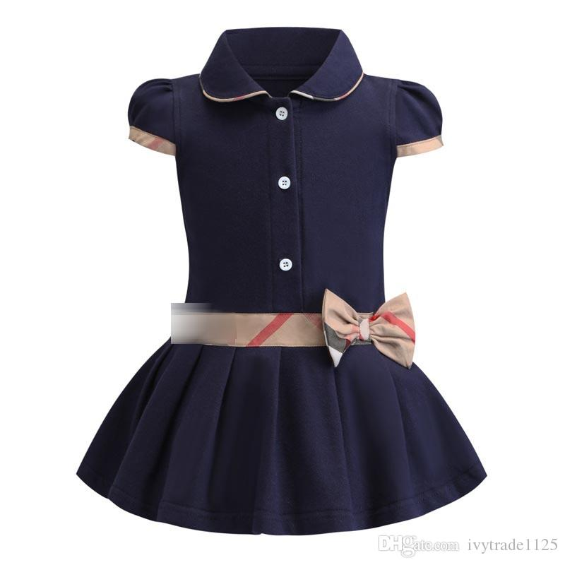 Chegada nova Meninas Do Verão Vestido Elegante de Manga Curta Turn Down Collar Design de algodão de alta qualidade crianças do bebê vestido de Roupas