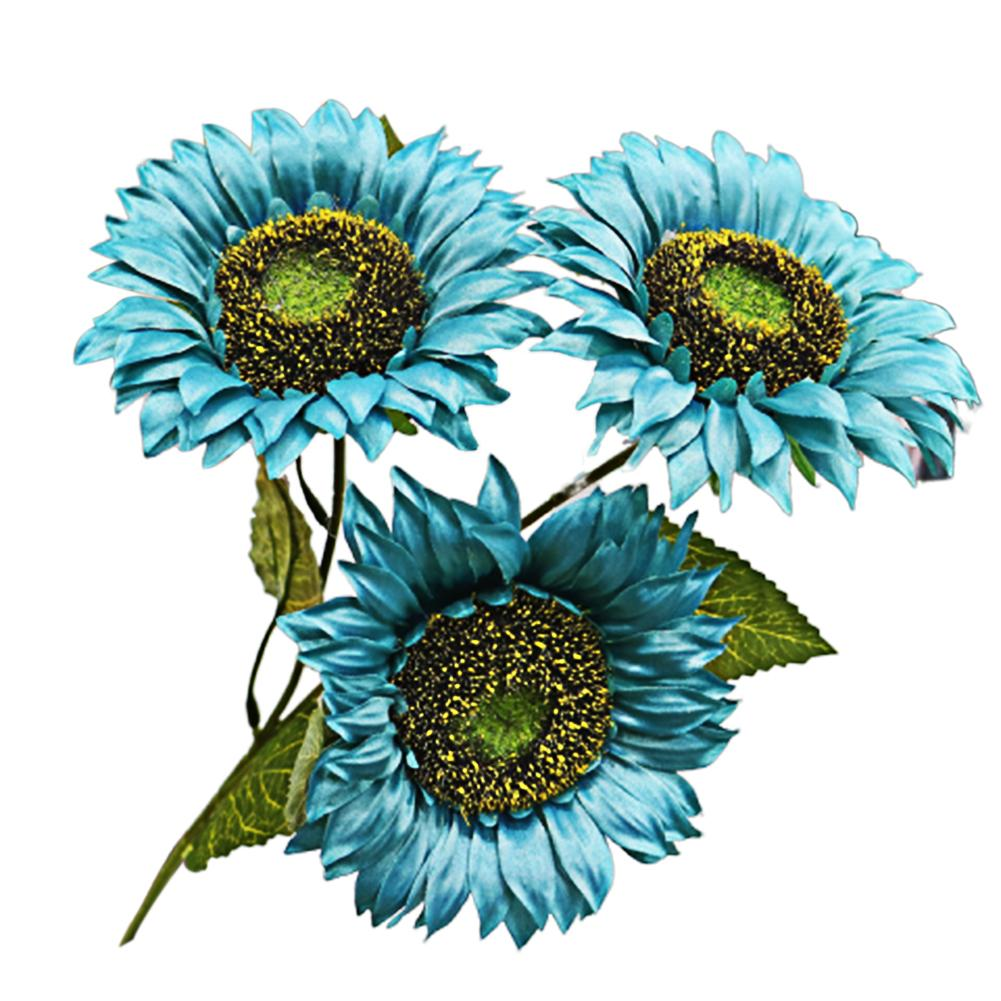 With Leaves Colorful Multipurpose Artificial Flowers Lightweight DIY Living Room 3 Head Silk Cloth Fake Sunflower Decorative
