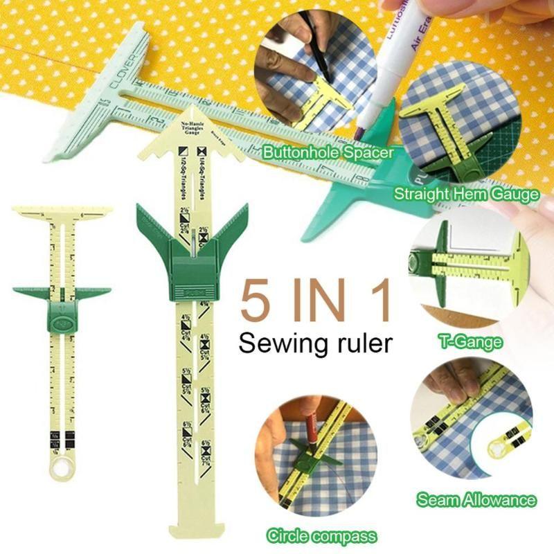 5-en-1 DESLIZAMIENTO CON MEDIDOR herramienta de medición remiendo de costura herramienta de la regla regla del sastre Accesorios uso en el hogar