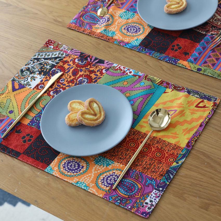 Style américain élégant coton linge de table set table à manger tapis café anti-slip napperons chauds bol tasse tapis de table table dessous