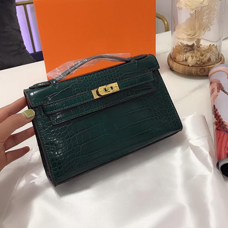 Bolso de mujer bolsas de platino bolsas de platería billetera cocodrilo bolso genuino coin de mano envolvimiento embrague cuero aeotn