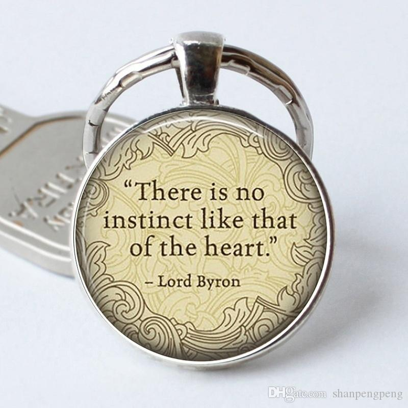 "2019 new ""no instinct like heart"" glass pendant keychain, fashion letter photo crystal keychain, Mr. Byron classic statement alloy keychain"