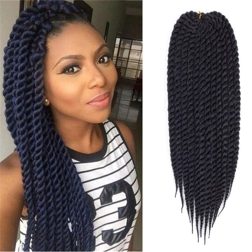 Hot! 22inch Havana Mamabo Twist Crochet Braids 12Roots Ombre Kanekalon African Braid Senegalese Twist Braids Braiding Hair Extensions