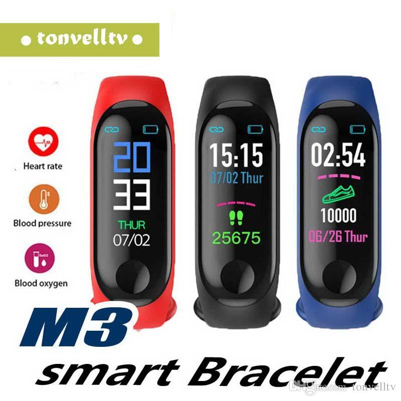 M3 Inteligente Pulseira Relógios Bluetooth Esporte Pulseira Inteligente Pressão Arterial Monitor De Freqüência Cardíaca Relógio Pedômetro Para Android IOS