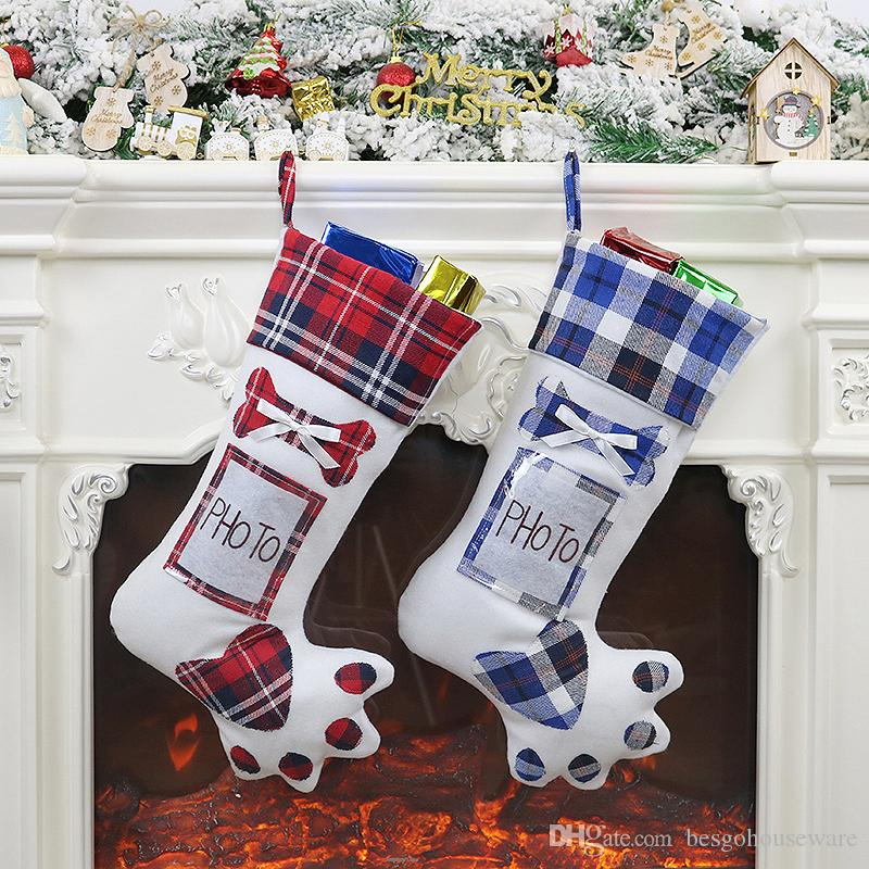 Decor Plaid Christmas Gift Bags Dogs Cats Paw Stocking Socks Xmas Tree Hanging Pendant Gifts New Year Prop Socks Put Photo BH2441 CY