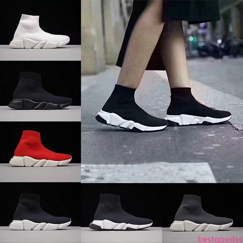 2019 Designer Speed Trainer Sock calçados casuais Homens Mulheres Triplo Black Red White Mens Formadores Sports Sneakers EUA 5,5-11