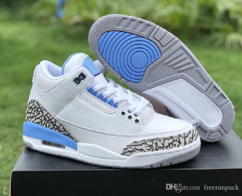 Mejor calidad Cemento 3s UNC PE Blanco Azul Gris Valor de baloncesto zapatos de diseño personalizado nuevo III elefante Imprimir zapatillas de deporte de la moda con la caja