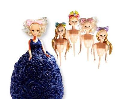 دمية كعكة العفن البلاستيك بوبى دمية القبعات العالية اللباس كعكة عيد ميلاد كعكة أدوات تزيين الزفاف الديكور