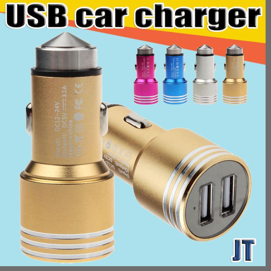 JT due porte USB Car Charger 2A lega di alluminio materiale reale del martello di sicurezza del metallo di disegno per Smartphone Tablet PC smart phone