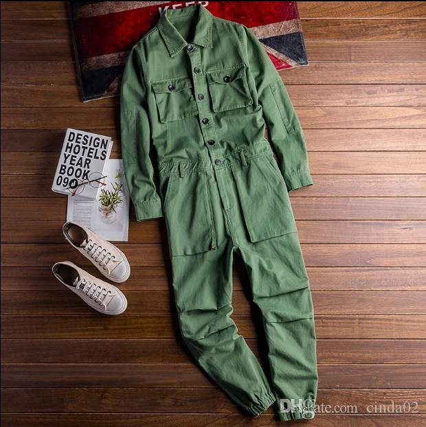 Fashion Men's Jean Bib Overalls Hip Hop Jumpsuits With Multi Pockets Workwear Coveralls Suspender Pants For Male