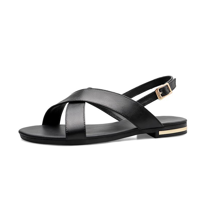 2020 Verão Mulheres Sandálias de couro genuíno plano Heel flip flops Gladiator sandálias sapatos de praia Mulher Big Tamanho Grande 45 46
