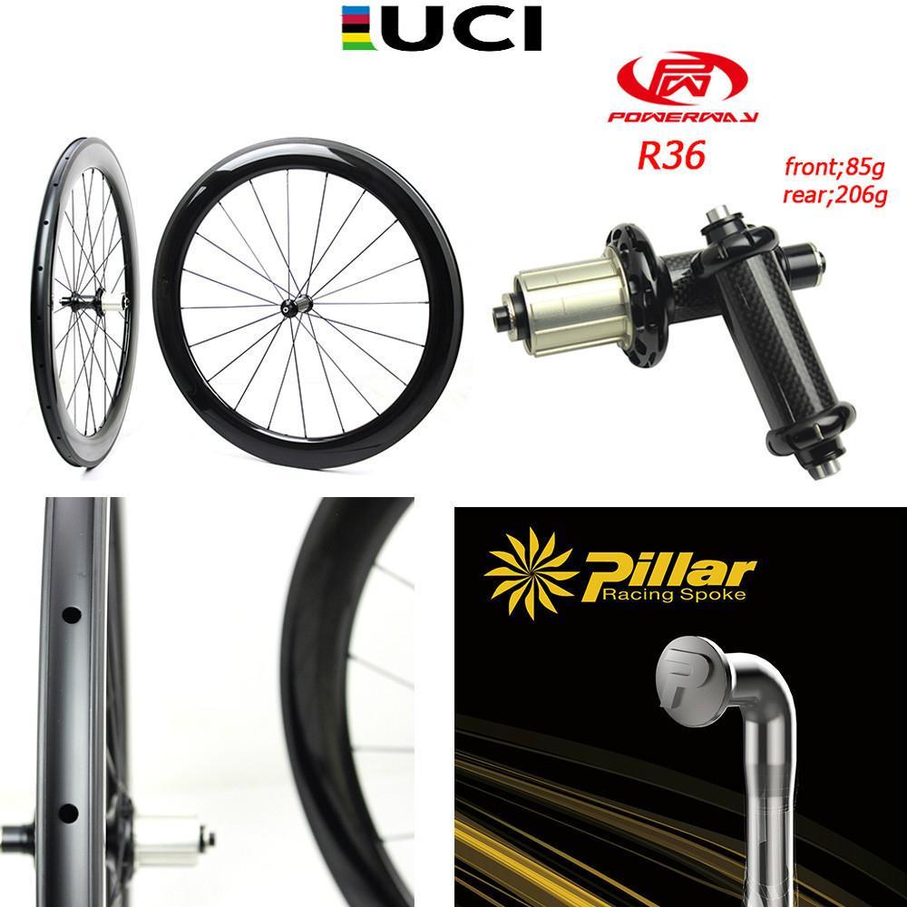 Taiwan Powerway R36 Hub 700c Carbon Road Bike Wheel Tubeless Clincher Tubular Wheelset bicycle carbon wheelset