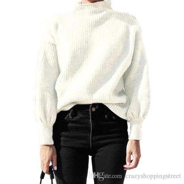 Larga manga del Batwing de punto de cuello alto suéter de la mujer Base 2019 suéter blanco ropa de invierno Mujeres top Negro Puentes Damas