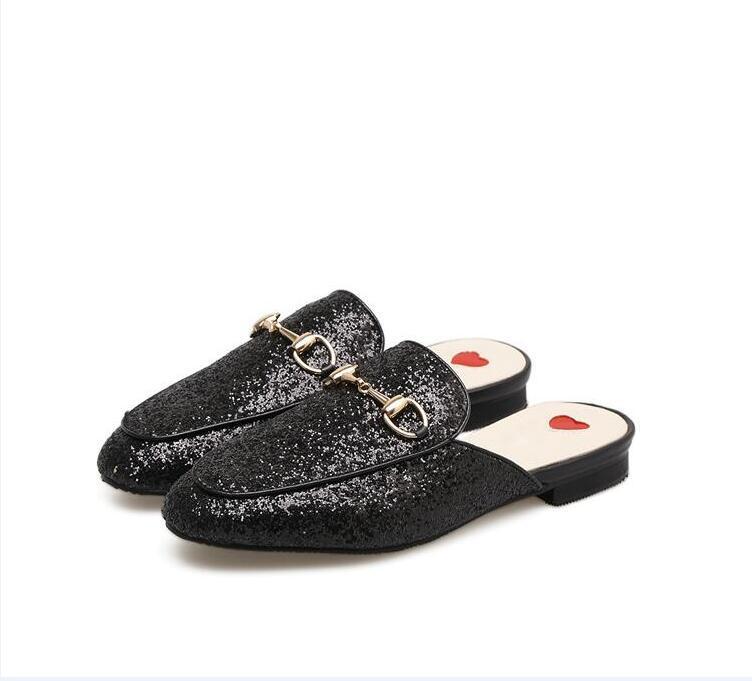 Moda kadın katır açık Flats Loafer'lar hakiki deri lüks tasarımcı Metal zincir toka Bayanlar rahat ayakkabılar dh7