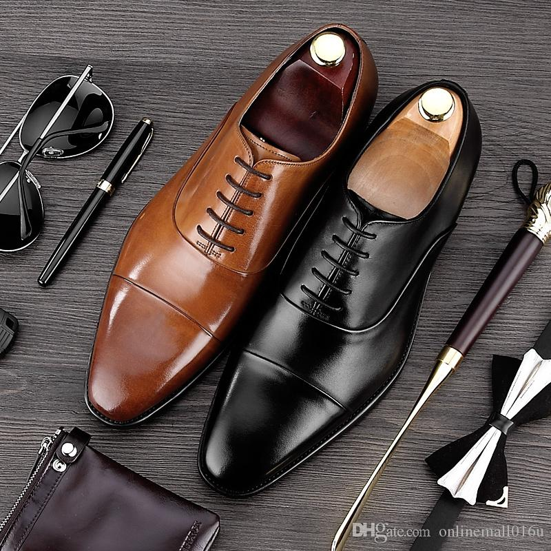 Luxury Man Cap Top Wedding Shoes Male Genuine Leather Dress Party Oxfords Pointed Toe Formal Men's Handmade Flats