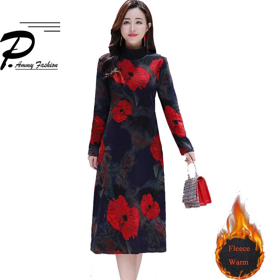 Veludo quente tamanho grande elegante slim dress 2018 mulheres roupas de inverno moda meia gola alta impressão nobre dia a linha jumper dress