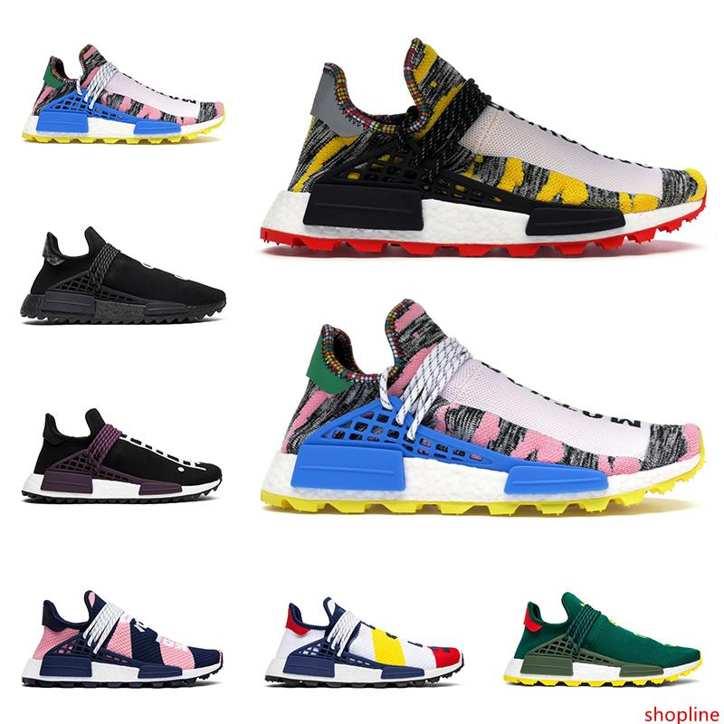 Hot sale human race Pharrell Williams men women running shoes Homecoming Solar Pack BBC mens trainers fashion runners sports sneakers