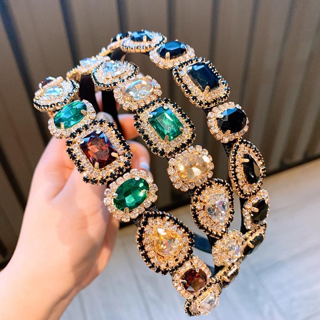 빈티지 헤어 액세서리 블랙 퍼플 크리스탈 바로크 맥스 밴드 우아한 라인 석 Diamante 머리띠 여성 # l5