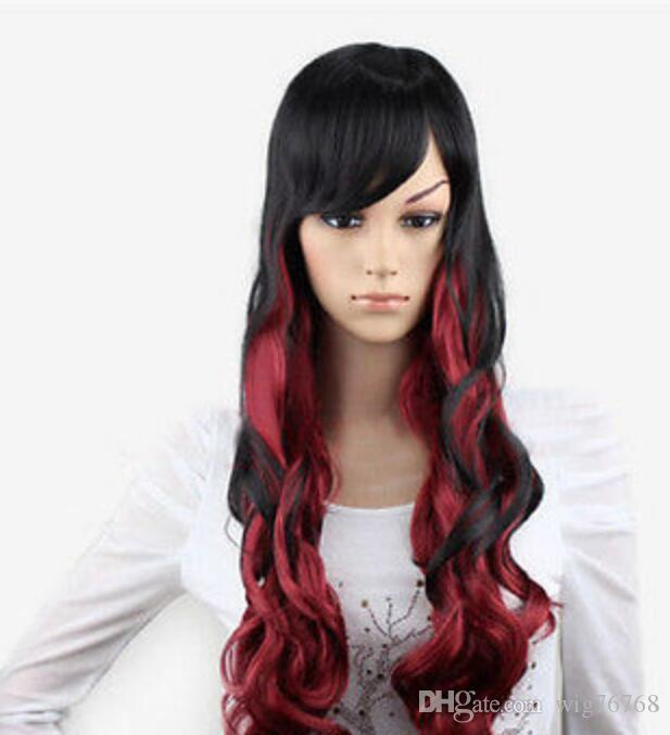 WIG Hot heat resistant Party hair>>>New Cosplay Fashion Black & Red Mix Long Curly Women Full Wigs