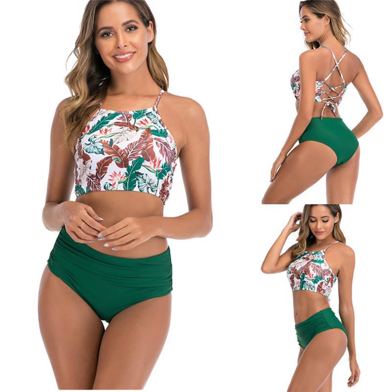 Tankini женщин сексуальный купальник высокой талией Цветочные бикини Сексуальная купальный костюм треугольник Дно пляжа Tankini Женский купальник плюс размер