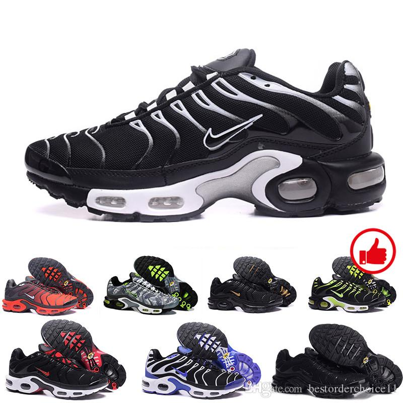 2018 Classic air tn shoes New Design men tn casual running shoes for tn requin cheap Breathable Mesh black white red trainer sports shoes FT