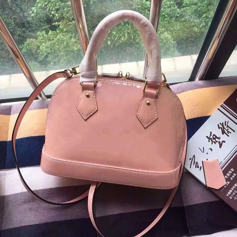 25cm klassische Drucklackleder Handtaschen Geldbörsen Monogramm-Shell-Paket-Einkaufstasche abnehmbare Schultergurt Umhängetaschen