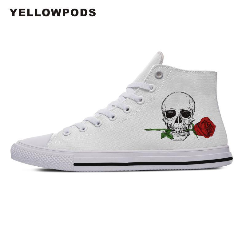 Red Flowers White Skull Slip On Rubber Sole Sneakers Canvas Shoes for Women Fashion