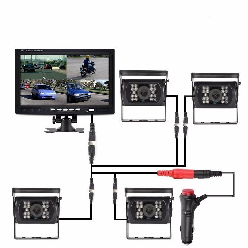 """OHANEE 7 """"TFT LCD 자동차 모니터 버스 트럭 RV 캐러밴 트레일러를위한 DC 12V-24V 4 핀 IR 나이트 비전 리어 뷰 카메라를 표시"""