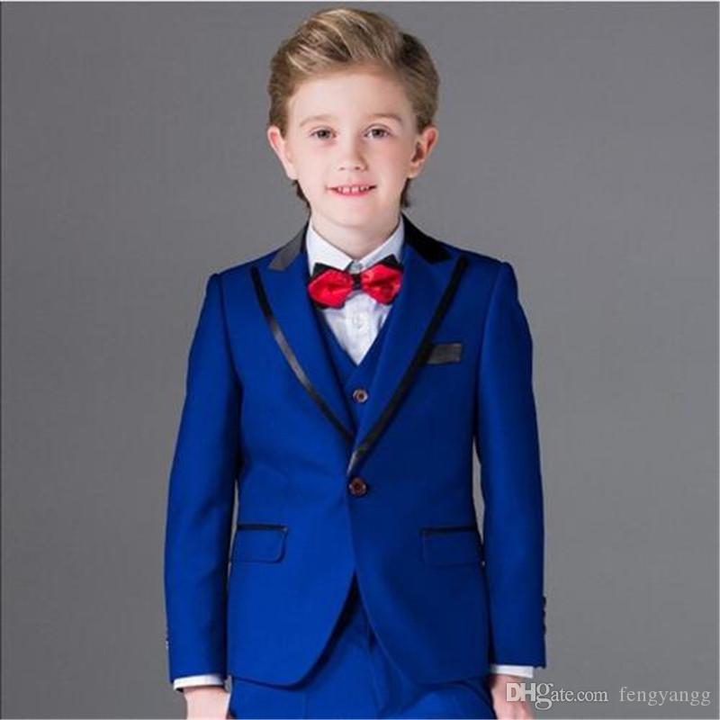 3ab846c17 Royal Blue Boy Formal Suit 5 Pieces (Jacket+Pants+Vest+Shirt+Bow Tie) Kids  Prom Tuxedos Ring Boy Suit for Wedding Party Children Costume