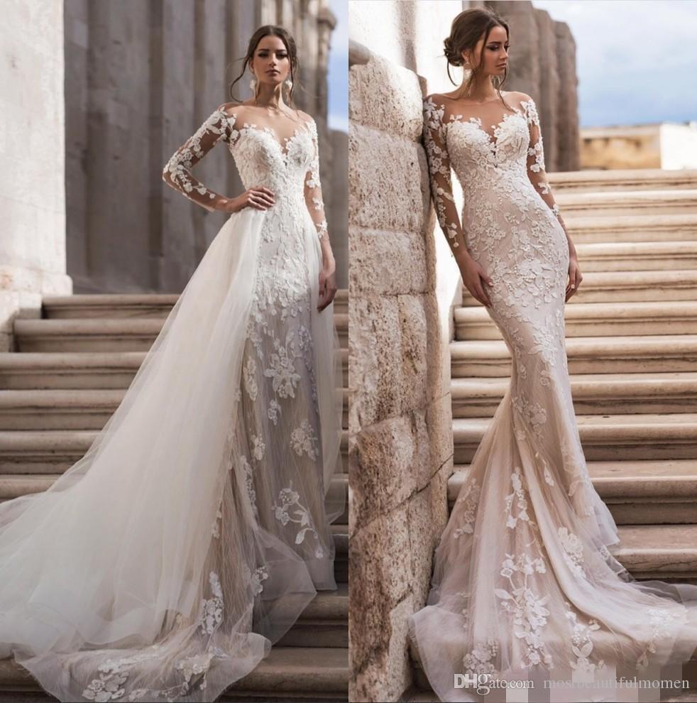 Sheer cou à manches longues en dentelle sirène Robes de Mariée avec jupe amovible 2020 Tulle Applique balayage train Robes de mariée Robes de mariée