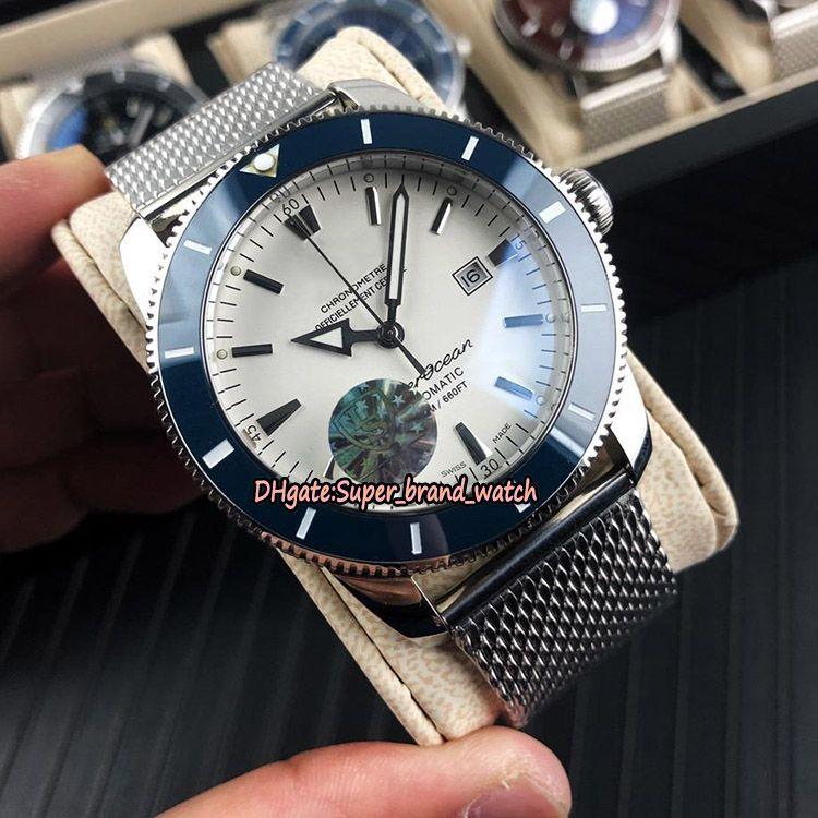 Lujo Súper Océano Heritage II 46 AB202016.G828.152A esfera blanca relojes deportivos caja de cerámica bisel de acero de Japón Miyota mecánica del reloj para hombre