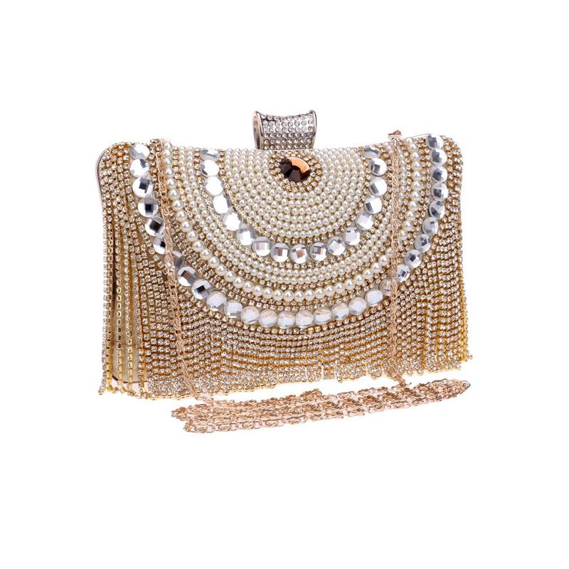 Heller Tasche Neue 2020 Wild Slanting Hand Hand Abend Kleid Damen Weibliche Tasche Diamant Abendessen Flash Tassel Abbk