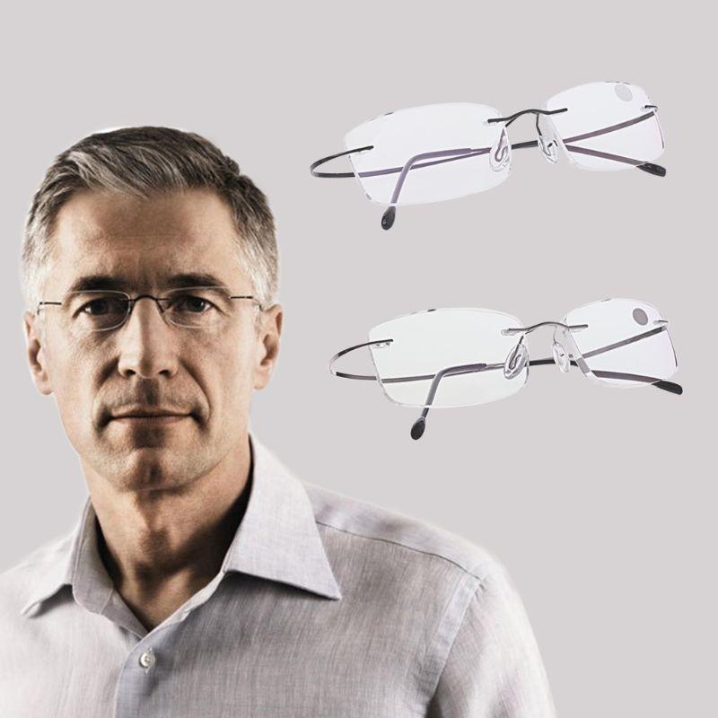 1pc Black/Silver Ultralight Titanium Rimless Rectangular Reading Glasses For Women Men Unisex +1.0/+1.5/+2.0/+2.5/+3.0/+3.5