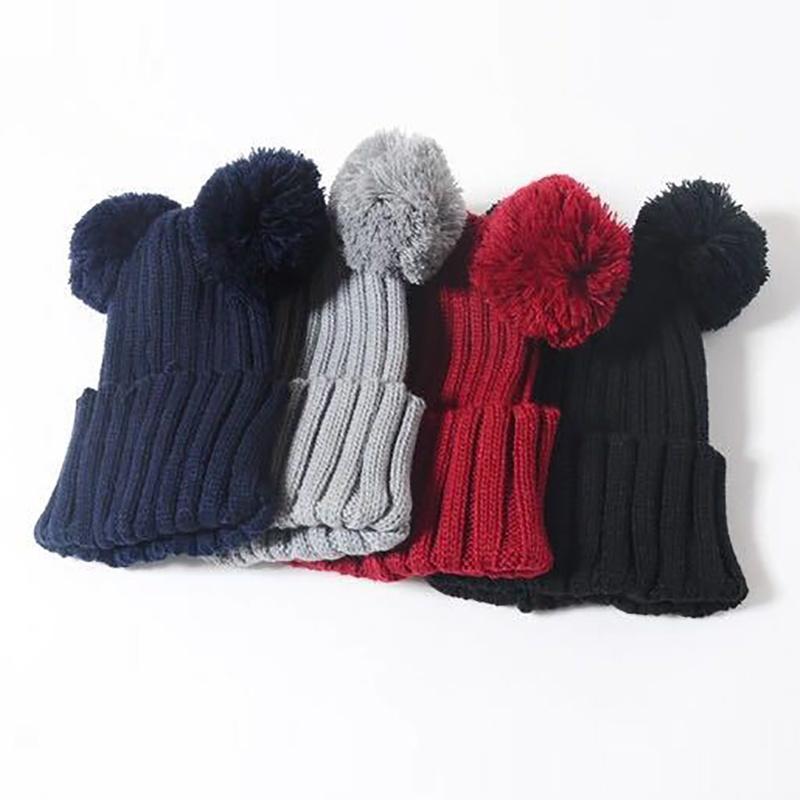 Winter Hats For Kid Knit Beanie Baby Hat Children Fur Hats For Girls Boys Warm Crochet Pom Baby Cap