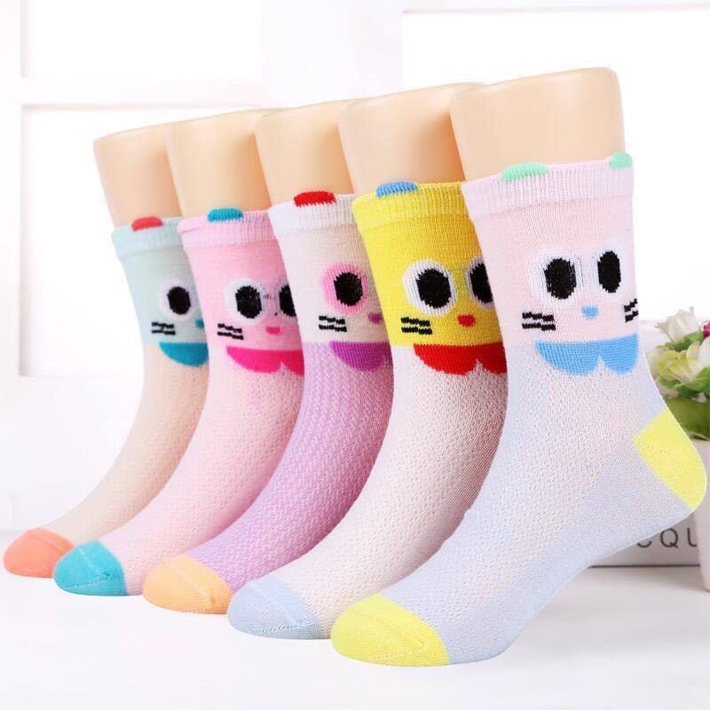 5pcs / lot mignon enfants socquettes Cartoon Imprimer Garçons Filles Top qualité chaussettes sport Printemps Eté respirant simple coton Sock 6 style