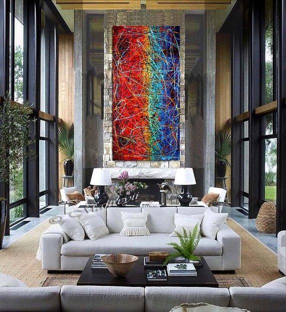 Jackson Pollock goccia in stile Art Blue Red supplementare della pittura della pittura a olio di grandi dimensioni o della tela di canapa Modern Wall Artwork oversize stile arte