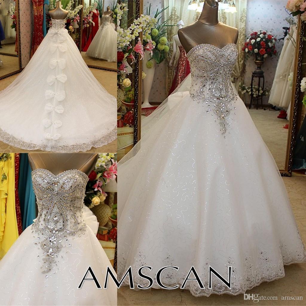 Nuovi rilievo Strass Lace abito di sfera Abiti 2020 di lusso con cristalli Bowknots appliquéd lunghi abiti da sposa Abiti da sposa da sposa