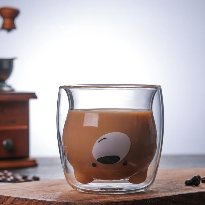 3D de 2 niveles Belle Panda Oso innovador Vidrios de cerveza resistente al calor jugo de doble pared de café de cristal Copa de la mañana del vidrio de leche
