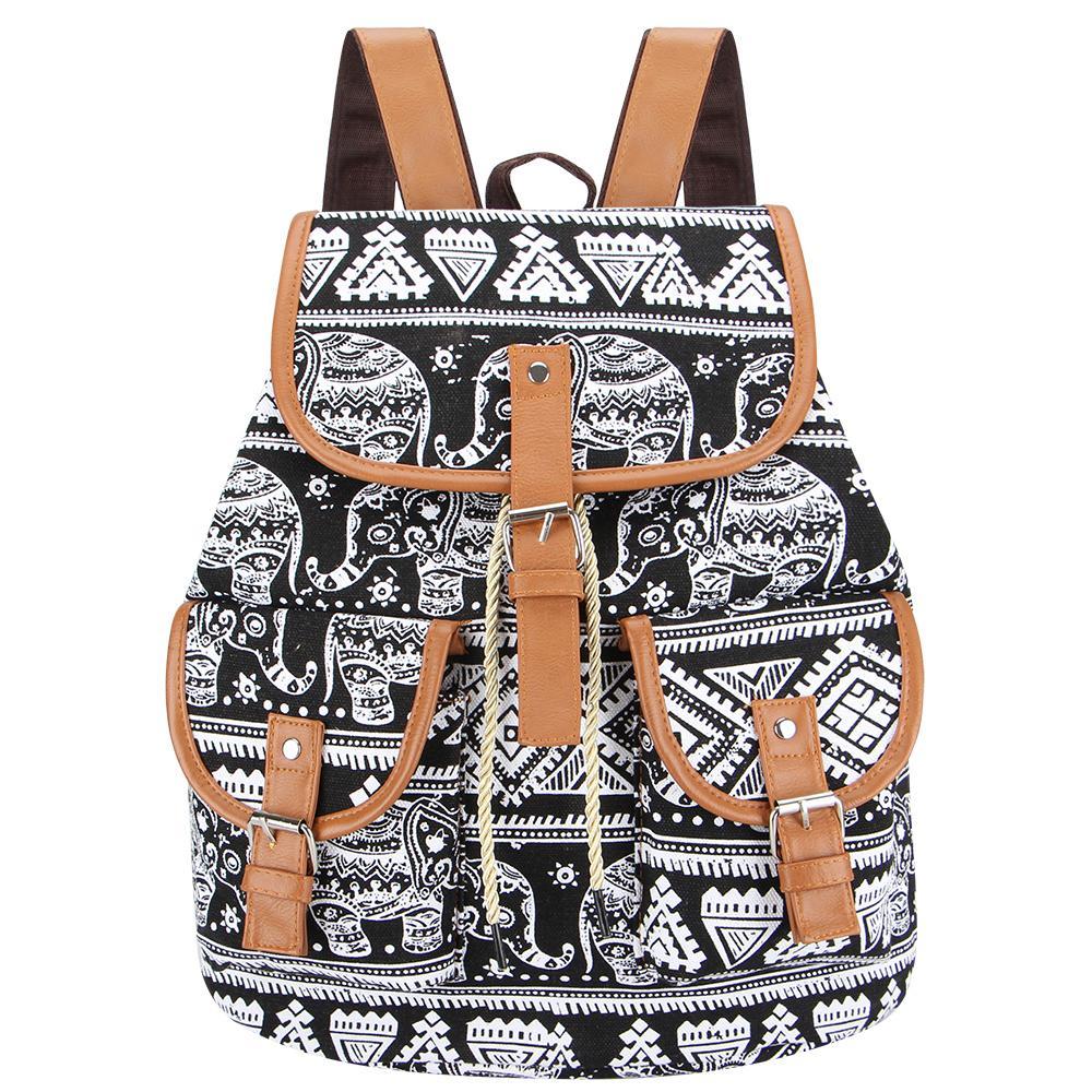Sansarya 2018 Vintage Black Elephant Canvas Printing Backpack Women Drawstring Rucksack Bagpack Mochilas Feminina Aztec Bag Y19051502