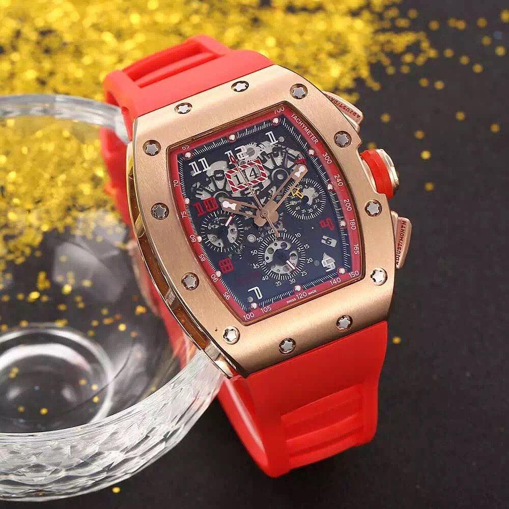뜨거운 판매 남자 시계 스포츠 손목 시계 탑 판매 남자 시계 기계식 자동식 손목 시계 스테인레스 스틸 케이스 고무 스트랩 033