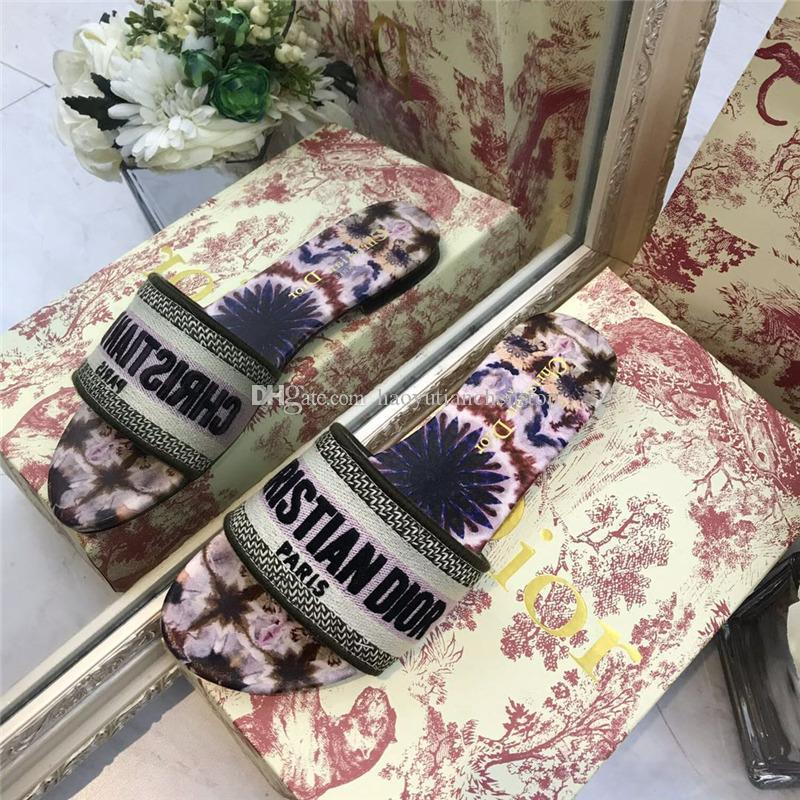 2020 new original single Dìór sandal design luxury hot sale flat heel slippers ladies classic outdoor party wedding shoes free shipping