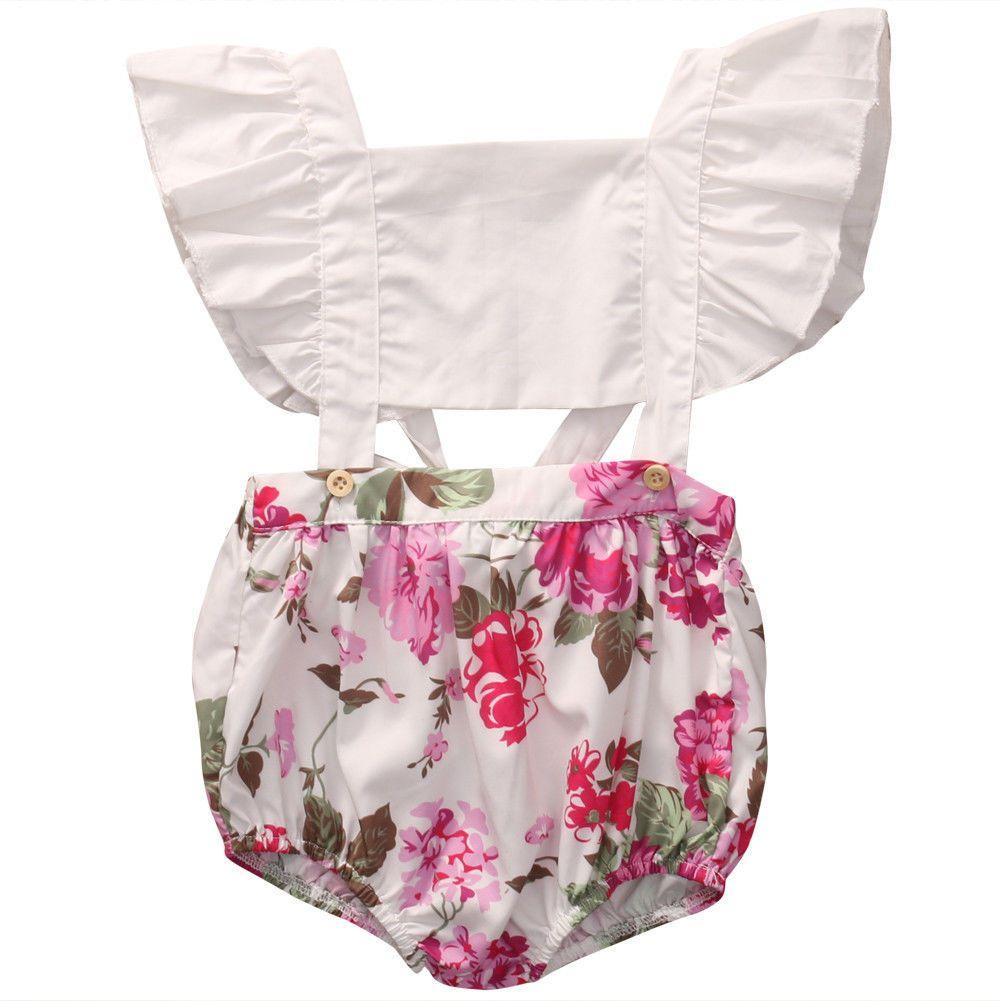 QH été mignon bébé fille Romper Fly manches Ruffles Floral Barboteuses Jumpsuit évider tout-petits enfants Vêtements Sunsuit Outfit