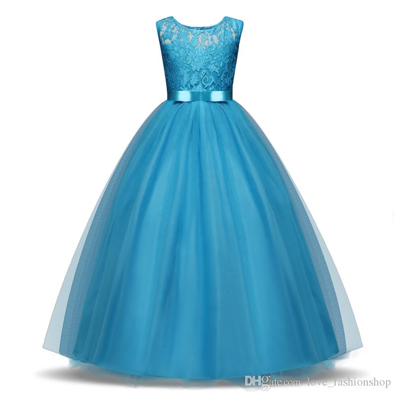 1pcs 2019 Girls Lace Dress 8 colors Baby Kids designer clothes girls Floor Length Elegant Ball Gown Formal Party Prom Princess Dresses