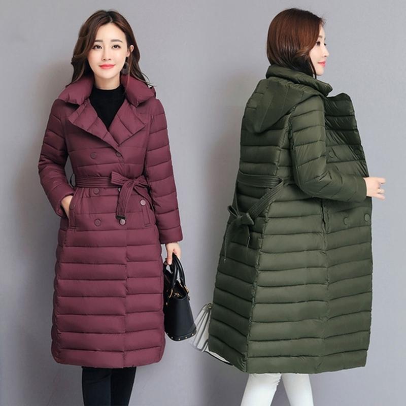 2019 Nueva LISYRHJH 2018 Escudo invierno de las mujeres Parka otoño Delgado Cinturón Chaqueta larga con capucha abrigo de invierno de mujeres chaquetas abrigos DT191028