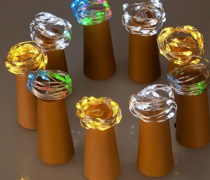 1m 2m bottiglia Mini illuminazione a forma di lampada Tappo a forma di sughero Tappo di vetro chiaro vino LED filo di rame String Lights For Xmas Party Wedding